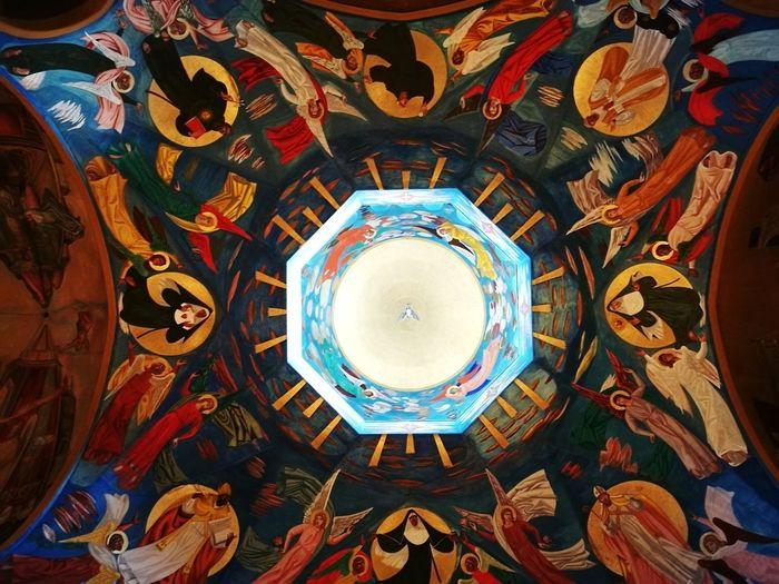 No People Dome Indoors  Multi Colored Concentric Cascia Umbria Italia