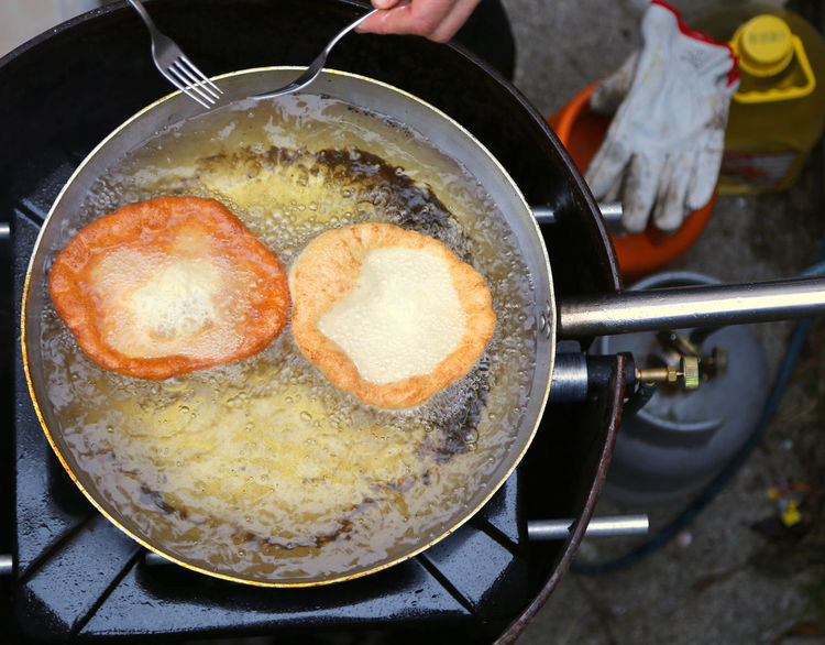tasty pancakes cooked in hot oil in large pot aluminum Carnival Dessert Fryed Man Burner - Stove Top Camping Stove Chef Cooked Deep-fried Finger Food Food Food And Drink Fried Frittella Frittelle Heat - Temperature Pan Pancakes Pot Preparation  Preparing Food Ready-to-eat Stove Streetfood Sweet
