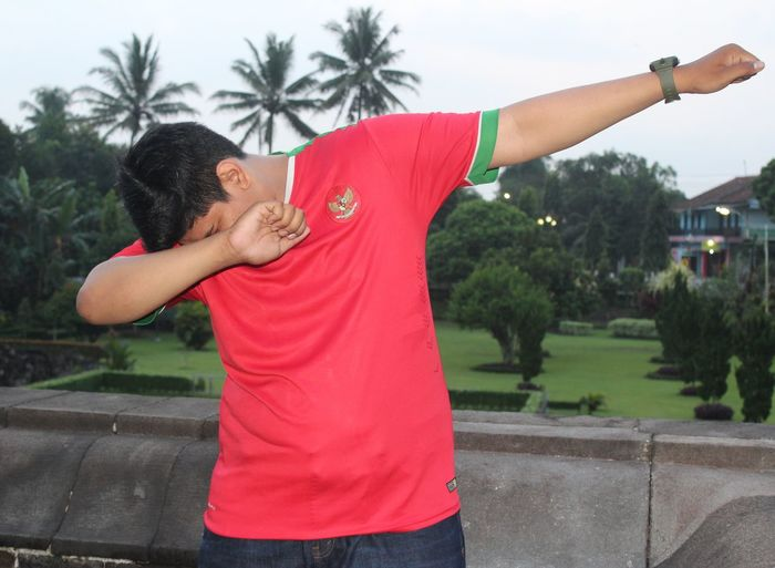 Dab Dab Boom! #dab #Boom #Indonesia #Word #temple Tree One Person People Adults Only Outdoors Young Adult