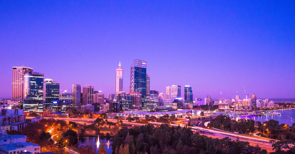 City of Perth, WA at dusk Australia Perth Travel Architecture Building Building Exterior Built Structure City Cityscape Colorful Dusk Financial District  Landscape Long Modern No People Office Building Exterior Outdoors Sky Skyscraper Tall - High Teavel Destination Urban Skyline
