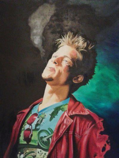 Amazing Art Oil Painting Awesome Portrait Art Bradpitt Fightclub