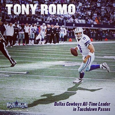 """ CONGRATULATIONS TONY ROMO! With his last TD pass to Dez Bryant he surpassed Troy Aikman as the All-Time Cowboys leader for Touchdown Passes."" GoDallas HowBoutThemCowboys Tonyromo"