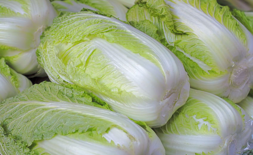 Heap of Chinese cabbages on a market stand-detail Food And Drink Freshness Healthy Eating Food Wellbeing Still Life Full Frame Green Color Vegetable Close-up Market Large Group Of Objects Cabbage Retail Display Raw Food Chinese Cabbage