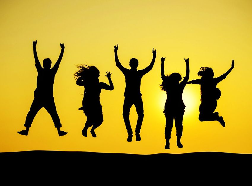 Silhouette Arms Raised Yellow Celebration Sunset Yellow Background Togetherness Friendship Friends FRIENDSHIPGOALS Life Jump Memory Nikon Nikonphotography