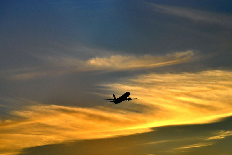 Jet Ski Sunset Silhouettes Airplane Airplane In The Sunset Cloud - Sky Flying Jet Jet Life Orange Color Silhouette Sky Sunset Sunsetporn EyeEmNewHere A New Beginning