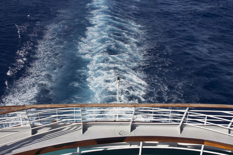 Boat Deck Cruise Ship Day High Angle View Motion Nautical Vessel Outdoors Railing Sea Transportation Water Wave Yacht