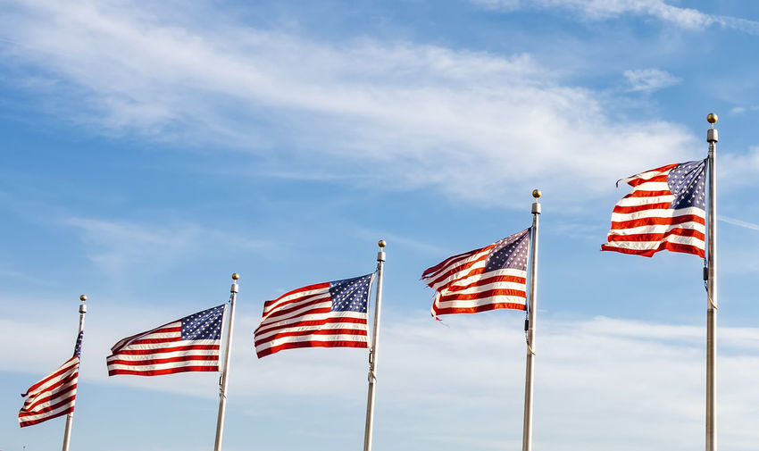 A group of american flags waving on a sunny day. concept of patriotism and democracy