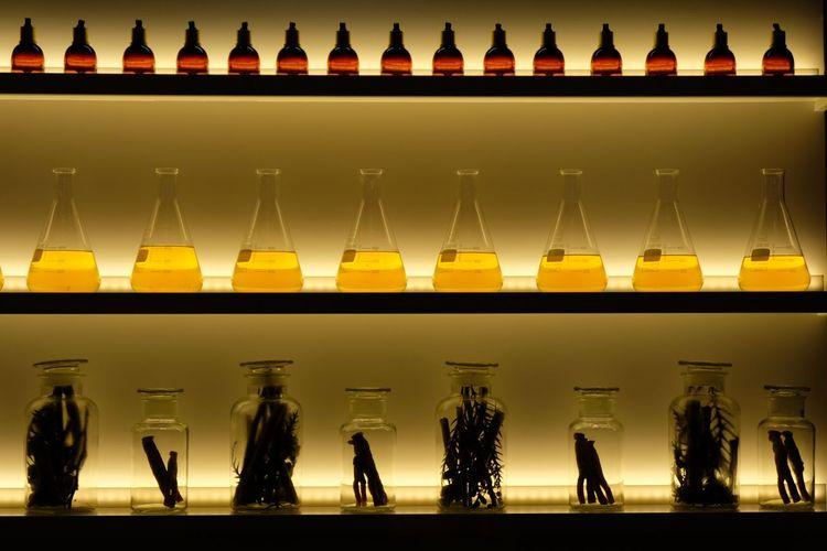 Various bottles in shelves