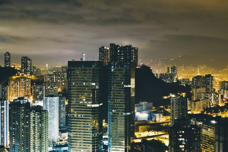 night scene Long Exposure HongKong Skyscraper Cityscape City Illuminated Night Urban Skyline Downtown District Modern Building Exterior Travel Destinations No People Architecture City Life Outdoors City Street