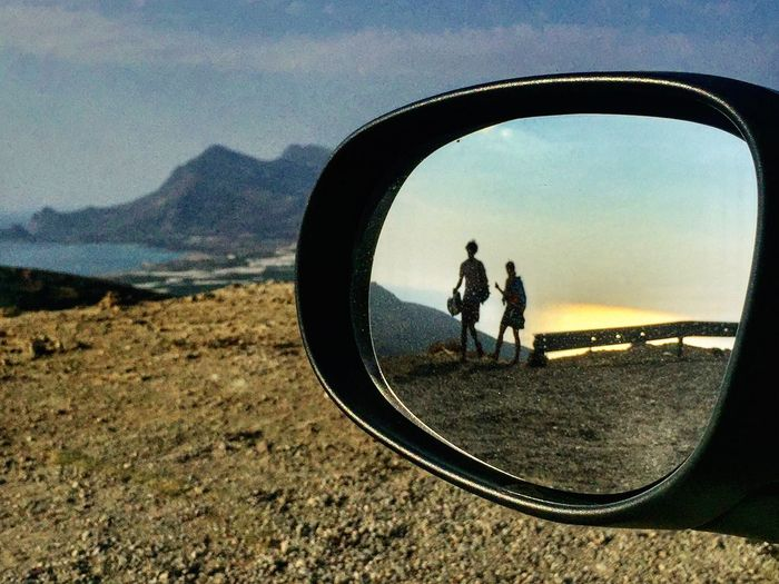 Connected By Travel Landscape Nature Reflection Sky Sea Sunset Car Mirror Ontheroad Greece Summertime