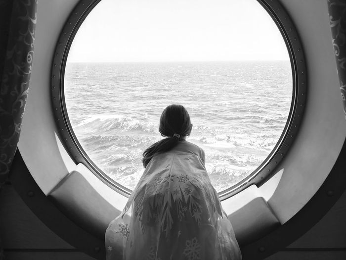 My princess on our cruise Sea Looking At View Window Water One Person Princess Blackandwhite Black And White IPhone7Plus