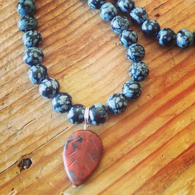 New Snowflake Obsidian and Jasper Mala! Mala Beads Prayer Jewelry Gemstones