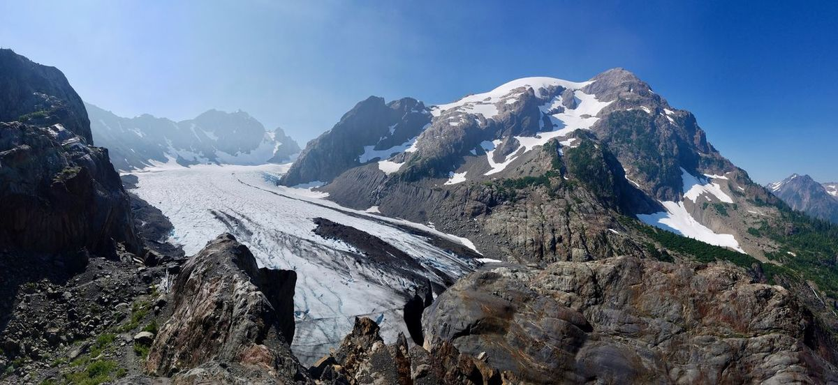 Backpacking Camping Hiking Olympic National Park Olympics Beauty In Nature Blue Glacier Cold Temperature Day Hoh River Hike Landscape Man Vs Nature Manvsnature  Mountain Mountain Range Nature No People Outdoors Scenery Scenics Sky Snow