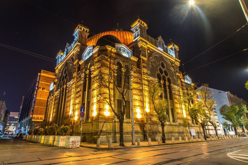 Sofia Synagogue Night Architecture Illuminated Building Exterior Built Structure City Low Angle View Building Place Of Worship Religion Belief Sky Spirituality Street Travel Destinations Transportation Nature Road No People Outdoors Nightlife Sofia Synagogue