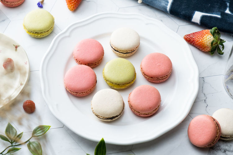 Sweet Food Sweet Food Food And Drink Dessert Macaroon Indulgence Freshness Temptation Still Life Indoors  Ready-to-eat Cake Unhealthy Eating No People High Angle View Plate Multi Colored Table Baked French Food