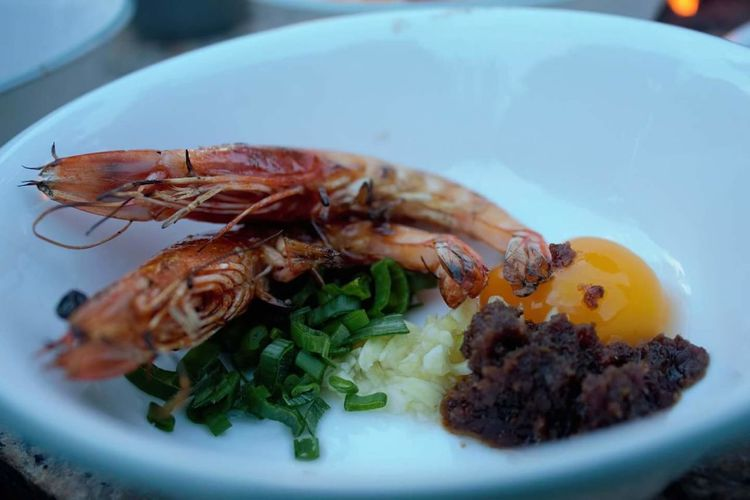 Close-up of prawns served on plate