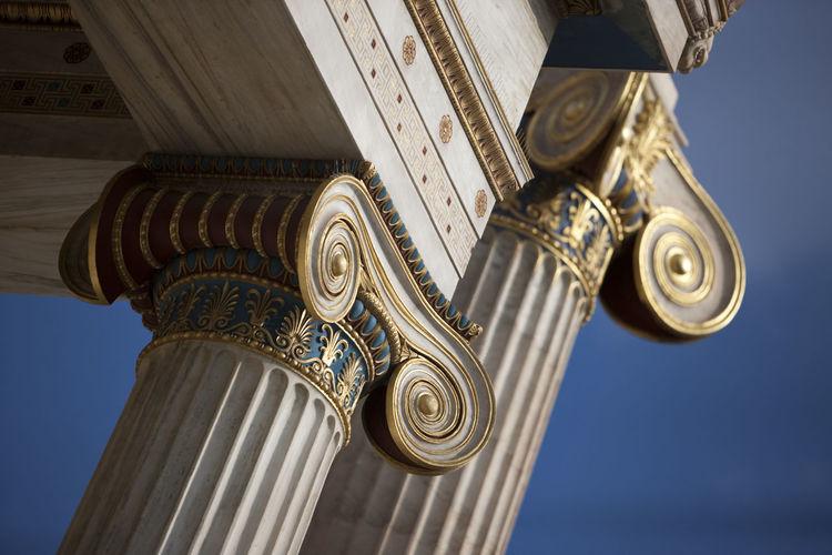 Tilt shift view of architectural columns against sky