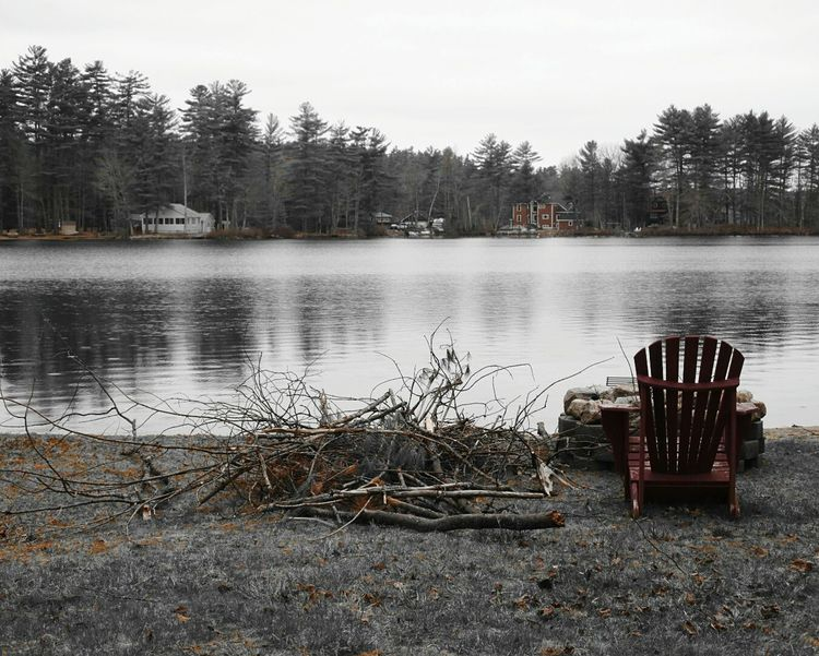 Black And White Red Splash Of Color Adirondack Chairs Lake By The Lake Dreary Dreary Can Be Beautiful Lonely Isolated