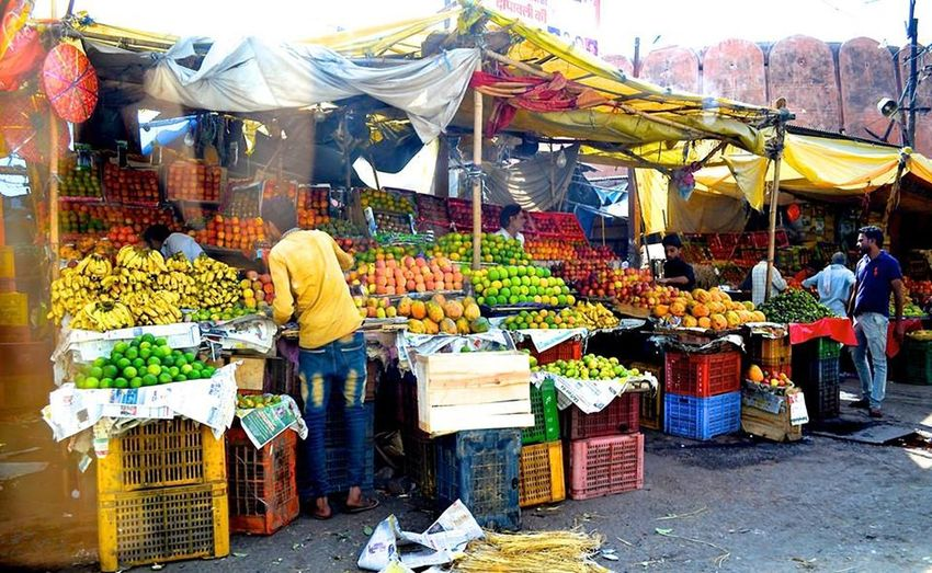Various fruits for sale at market stall