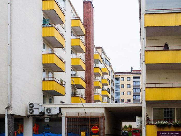 Architecture Building Exterior Urban Photography Colors And Patterns No People Overcast Sky Quiet Yellow Balcony Yellow City Empty Building Urban Apartment