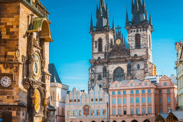Architecture Bell Tower Building Exterior Built Structure Clock Clock Tower Day History No People Outdoors Place Of Worship Prague Religion Sky Spirituality Travel Destinations