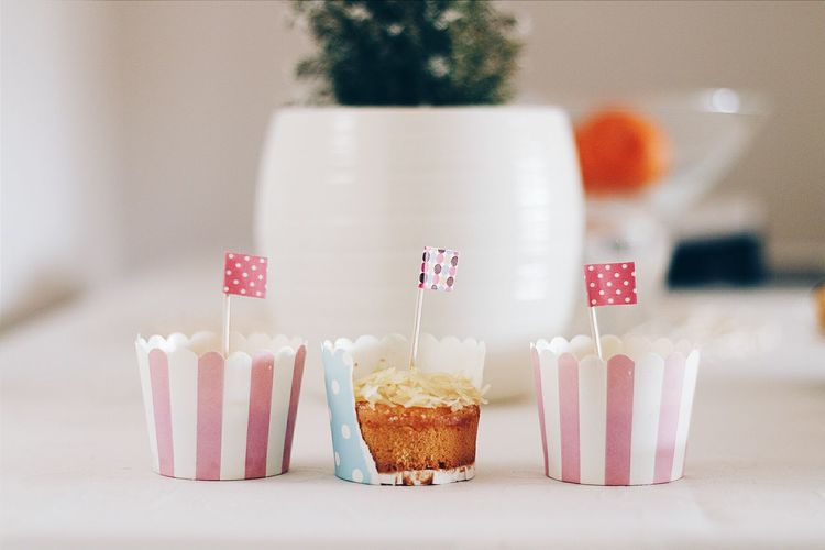 Flags On Cupcakes At Table