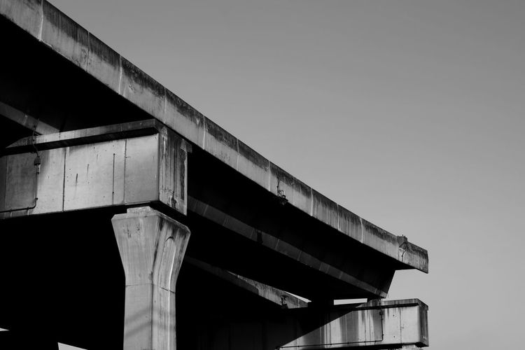 Street Streetphoto_bw Workshop B/w B/W Photography Stockphoto Bridge Sky Architecture Built Structure Low Angle View Clear Sky Copy Space No People Nature Bridge - Man Made Structure Day Connection Transportation Building Exterior Architectural Column Outdoors Elevated Road Sunlight Road Overpass
