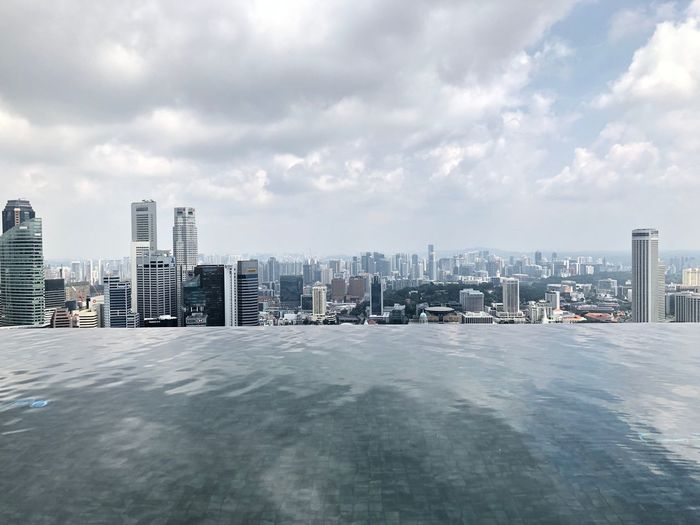 Infinity pool against cityscape