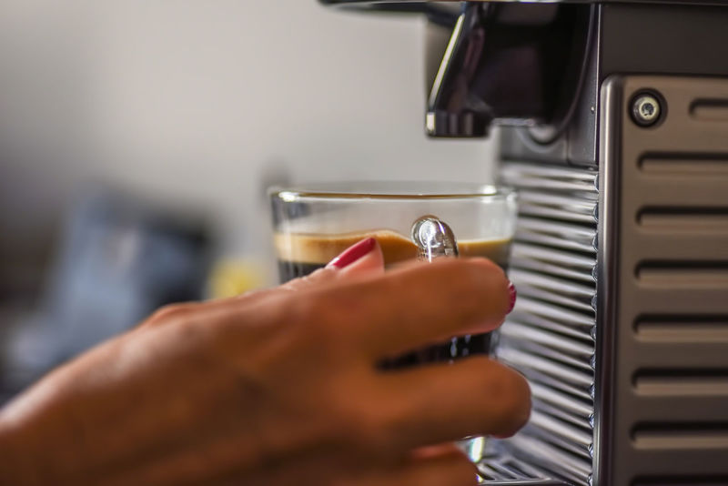 Cappucino Machine Woman Close-up Espresso Maker Freshness Holding Human Hand Indoors  One Person People Real People