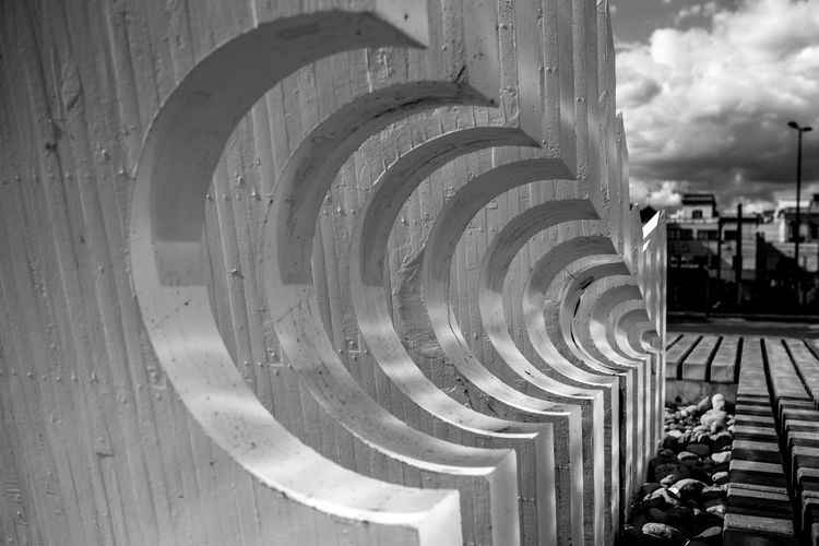 Blackandwhite Black And White Black & White Black&white Streetphotography Architecture Built Structure Day Spiral Building Exterior No People Staircase Railing Building Pattern Nature Steps And Staircases Shape Outdoors Geometric Shape Circle Sky Design In A Row Sculpture