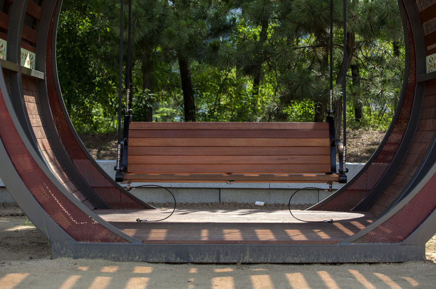 Absence Bench Calm Day Empty Green Color Growth Michuhol Park Nature No People Outdoors Park Plant Resting Seat Songdo, Incheon The Way Forward Tranquility Tree Vacant Wood - Material