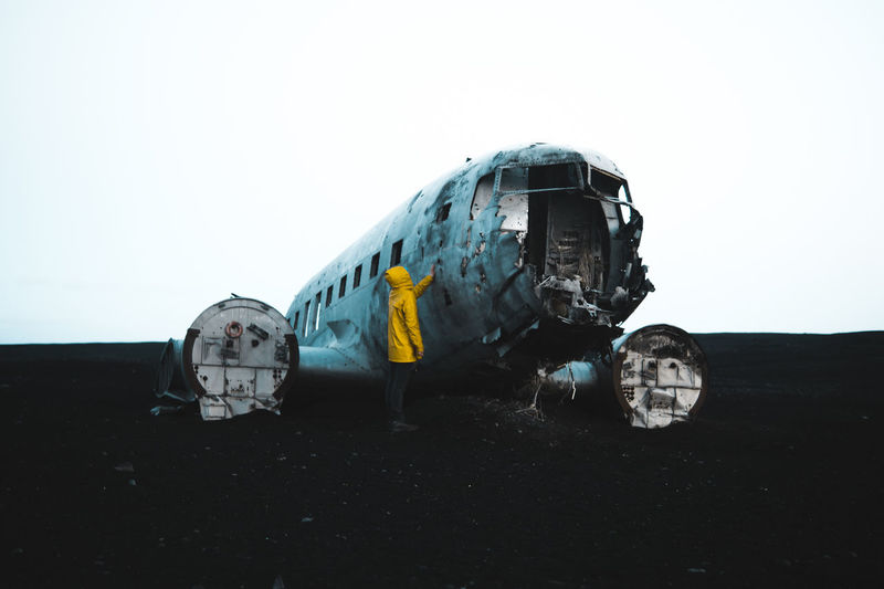 Touch it! Paint The Town Yellow Iceland The Week On EyeEm Abandoned Airplane Beach Black Sand Beach Clear Sky Crash Damaged Destruction Military Airplane Night Outdoors Sky Yellow Lost In The Landscape