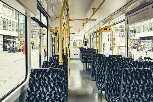 150 years Berlin Tram. Historical Tatra T6A2 view to passenger compartment Tatra CkD T6a2 Passenger Compartment Tram Berlin Train Trainphotography