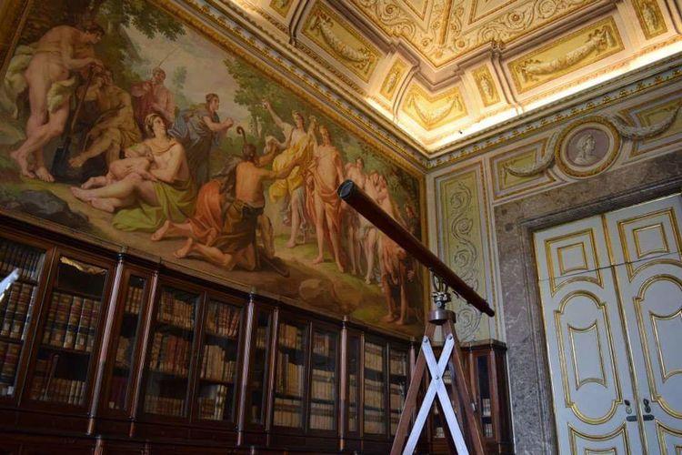 Caserta Palace Library Study Warm Colors Old Books Books Historic Telescope Frescos