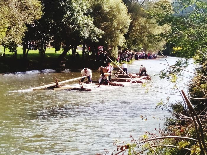 River Tree Nature Wooden Raft People Real People Nautical Vessel Day Almadias Navarra