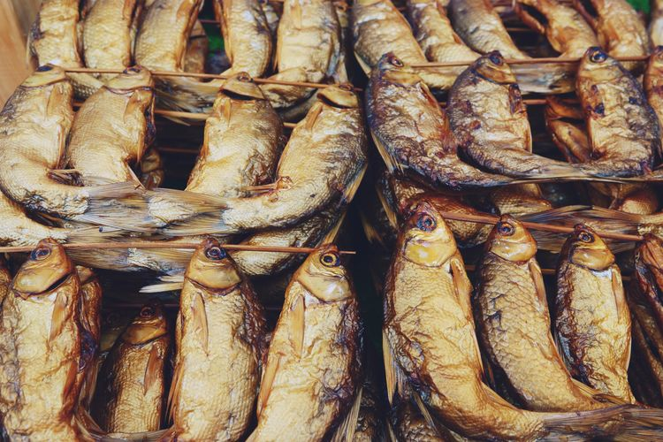 Chacole Grilled Fish with bamboo stick thai style food Food And Drink Food Freshness Wellbeing Healthy Eating Seafood Fish For Sale Retail  Full Frame Still Life Market No People Abundance Large Group Of Objects Vertebrate Backgrounds Raw Food Animal Close-up Fish Market Retail Display Sale