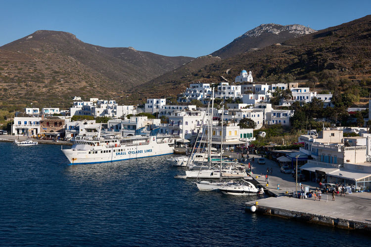 Amorgos Ferry Amorgos Architecture Boat Building Building Exterior Built Structure City Day Greece Harbor Katapola Mode Of Transportation Mountain Mountain Range Nature Nautical Vessel No People Outdoors Residential District Sea Sky Transportation Water Waterfront Yacht