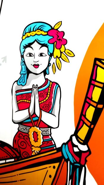 Sawasdee! (hallo) Good Morning! (advertising detail ) Traditional Taking Photos Tradition Cultures Culture And Tradition Culture Travel Photography Thai Greetings Thailand Good Morning From My Point Of View Detail Multi Colored Advertisement Poster Advertising People Day Adult One Person Outdoors