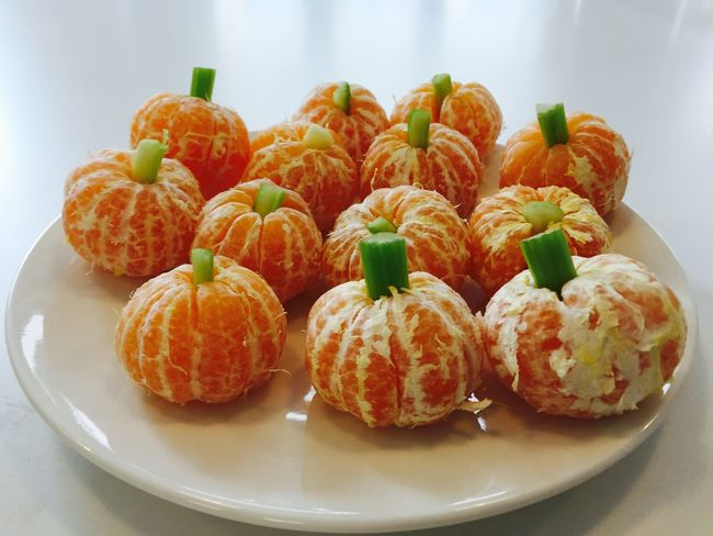 Composition Food Freshness Fun Healthy Eating Healthy Lifestyle Kids Playing Pumpkins Tangerines
