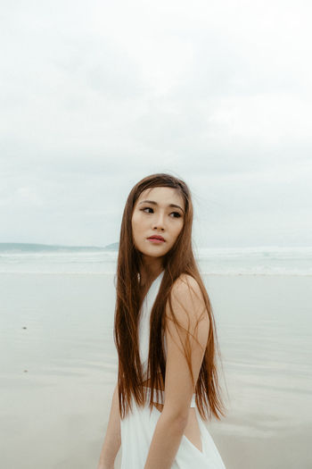 Beach Beachphotography Beautiful Woman Beauty In Nature Day Horizon Over Water Long Hair Nature One Person Outdoors Portrait Portrait Of A Woman Portraits Real People Scenics Sea Sky Standing The Portraitist - 2017 EyeEm Awards Water Young Adult Young Women