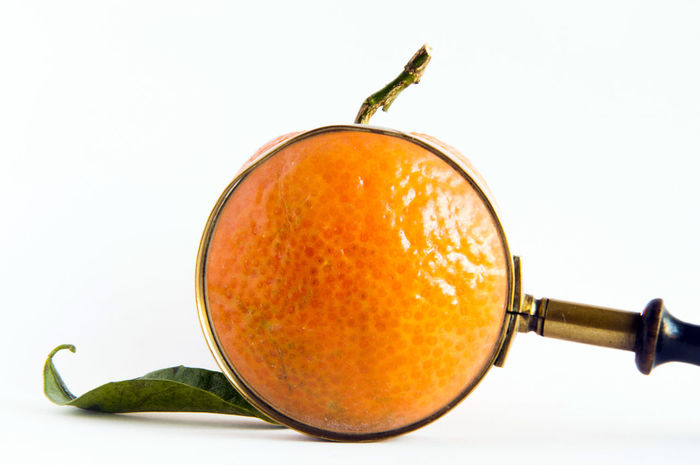 Tangerine in a magnifying glass Close-up Food Food And Drink Fruit Healthy Eating Lens Magnifying Glass Orange Color Studio Shot Tangerine White Background