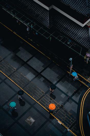 Aerial view of people walking on footpath
