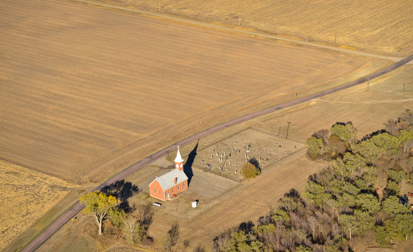 High Angle View Aerial View Aerial Aerial Photography Church Rural Scene Rural Countryside Small Town MidWest South Dakota Plains Prairie Farm Field Agriculture Cemetery Graveyard Road Brick Building Steeple Non-urban Scene Land