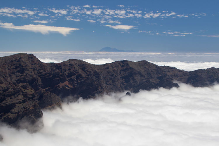 Scenic view of mountains over clouds and teide over horizon