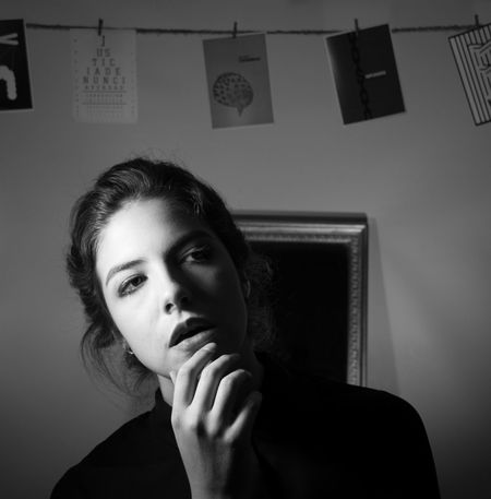 < 5 > CASUALIDAD Looking At Camera M Woman Beautiful Woman Blackandwhite Contrast Day Eyes Front View Impunity Indoors  Justice Light And Shadow Lowkey  One Person Real People Shadow Young Adult Young Women