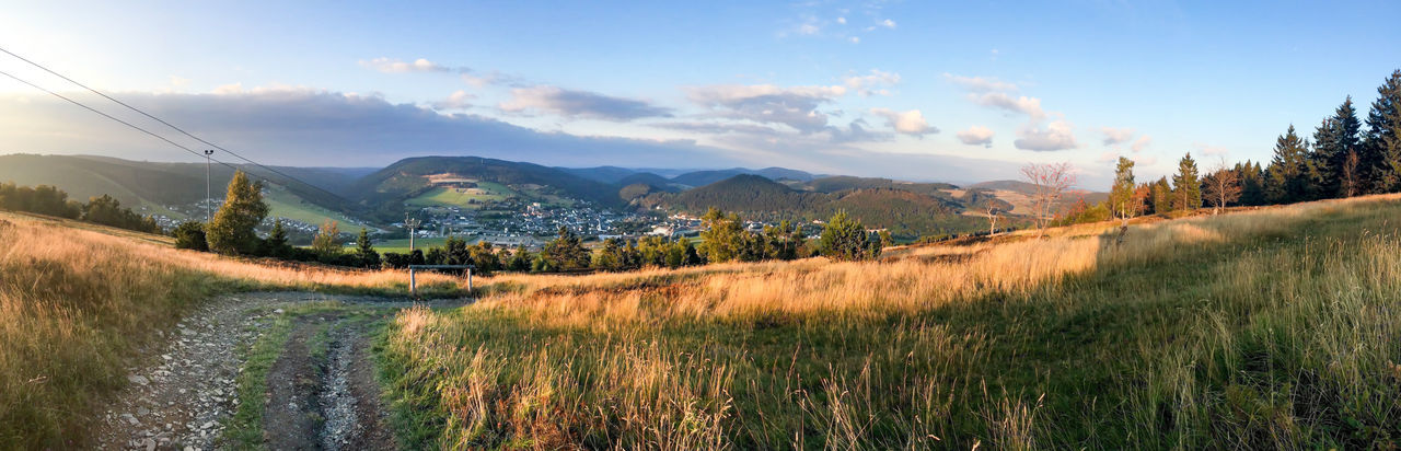 Autmn, Beauty In Nature Cable Railway Cloud - Sky Etzelsberg Grass Heather Hochsauerland Landscape, Lens Flares Mountain Nature Outdoors Panorama, Sunset Willingen EyeEmNewHere Lost In The Landscape