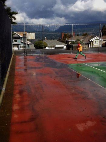 Tennis court reservoir.