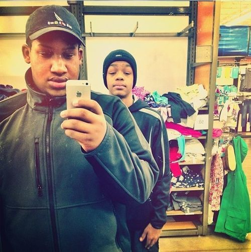 me and my brother at the mall.