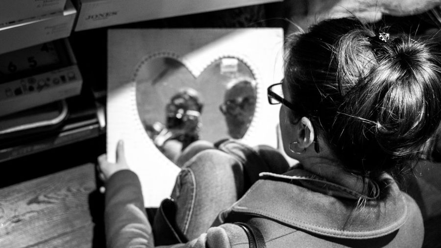 Kukuk xD Hanging Out Taking Photos Hello World Capture The Moment Black And White Black & White Monochrome Girl Woman People Watching Heart Love Shopping Mall Mirror Reflection Hair Glasses Streetphotography Streetphoto_bw Eye4photography  EyeEm Best Shots - Black + White B&w Street Photography Showcase: December Sony taken with Sonynex6