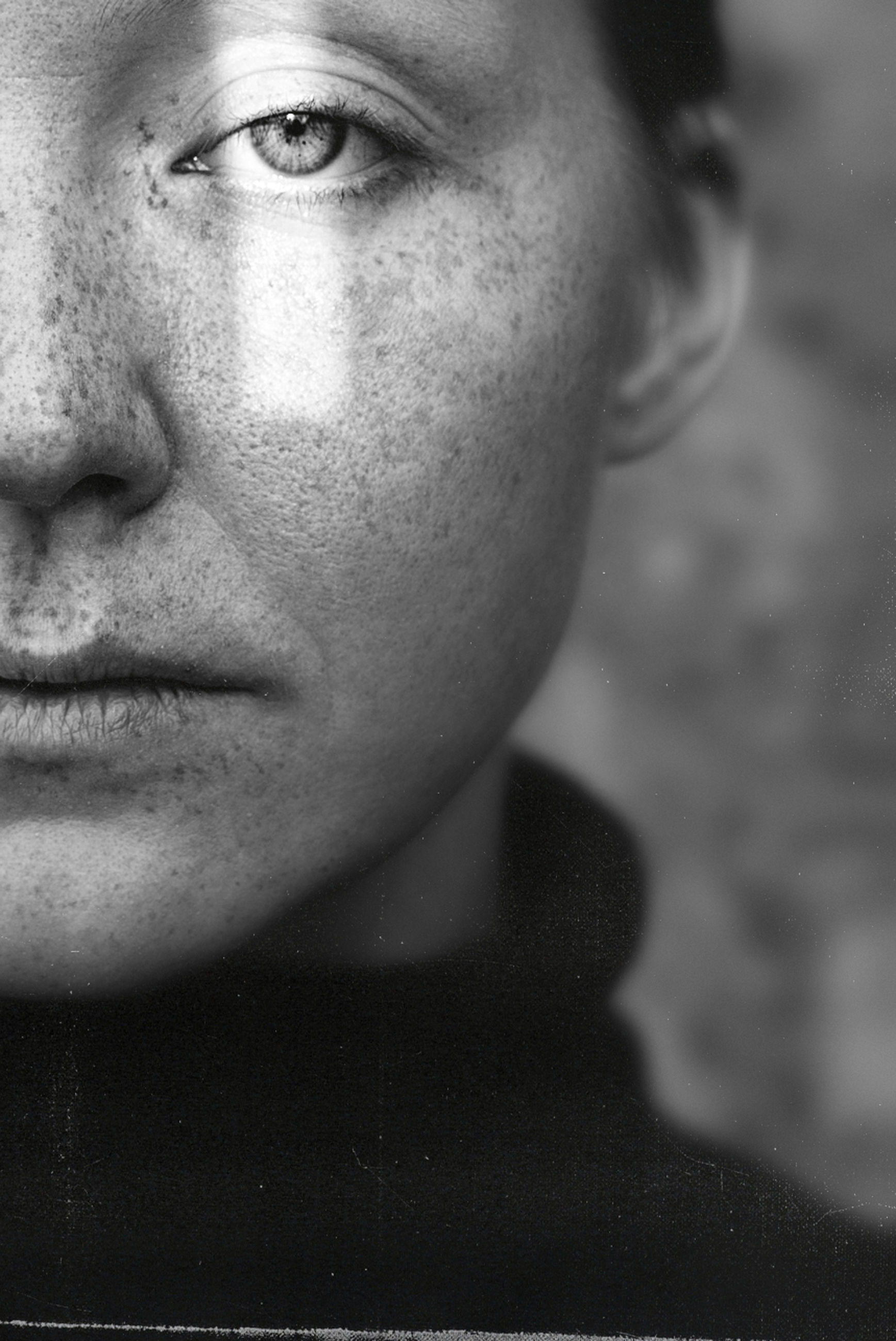 portrait, human face, one person, black, black and white, adult, monochrome, monochrome photography, headshot, portrait photography, close-up, human head, human eye, women, young adult, white, nose, person, serious, sadness, skin, contemplation, looking, female, looking at camera, indoors, front view, emotion, lifestyles
